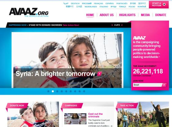Avaaz.org splash page for niche social network